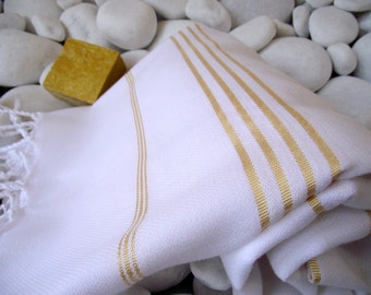 Best Quality Hand-Woven Turkish Cotton Bath Towel or Sarong-White and Saffron Stripes
