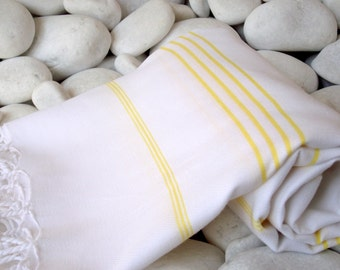 Best Quality Hand Woven Turkish Cotton Bath Towel Or Sarong-Yellow Stripes on White