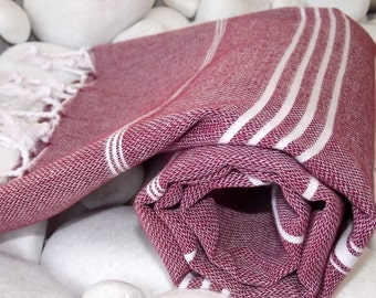 Best Quality Hand-Woven Turkish Cotton Bath,Beach,Pool,Spa,Yoga,Travel Towel or Sarong- White Stripes on Burgundy,Wine