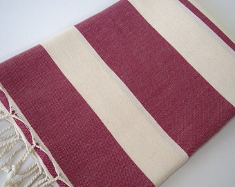 Best Quality Hand Woven Turkish Cotton Bath Towel or Sarong-Natural Cream and Burgundy