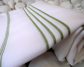 High Quality Hand Woven Turkish Cotton Bath,Beach,Pool,Spa,Yoga,Travel Towel or Sarong-Green Stripes on White