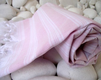 Best Quality,Hand Woven,Light Turkish Cotton Bath Towel or Sarong-Pale Pink and White Stripes