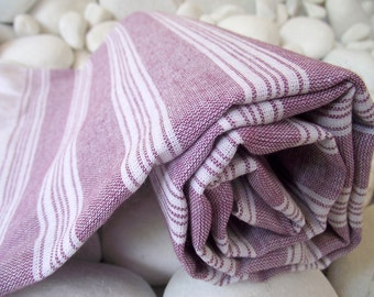 Best Quality,Hand Woven,Light Turkish Cotton Bath Towel or Sarong-Purple and White Stripes