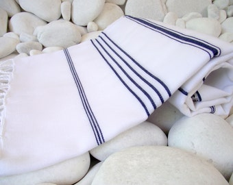 Hand Woven Best Quality Turkish Cotton Bath,Beach Towel or Sarong-Dark Navy Blue Stripes on White