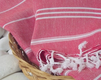 Turkishtowel-Set of 4-High Quality Hand Woven Turkish Cotton Hand Towel,Head Towel,Tea Towel or Unisex Neck Warmer-White Stripes on Red