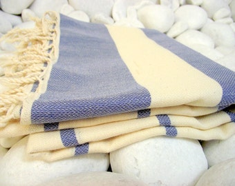High Quality Hand Woven Turkish Cotton Bath,Beach,Pool,Spa,Yoga Towel or Sarong-Natural Cream and Denim Blue