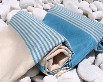 Set of 2-High Quality Hand Woven Turkish Cotton Bath Towel or Sarong-Natural Cream and Turquoise Stripes on Turquoise and Natural Cream