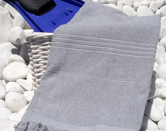 High Quality Hand Woven Turkish Cotton Thick Bath,Beach,Pool,Spa,Yoga Towel or Sarong-Gray,Grey