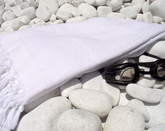 High Quality Hand Woven Turkish CottonThick Soft Bath,Beach,Pool,Spa,Yoga Towel or Sarong-White Stripes