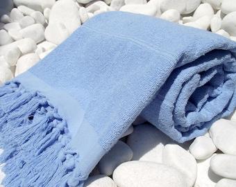 High Quality Hand Woven Turkish Cotton Thick Soft Bath,Beach,Pool,Spa,Yoga Towel or Sarong-Light Blue Stripes