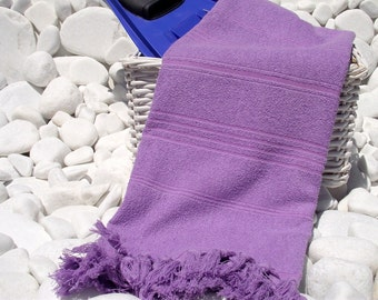 High Quality Hand Woven Turkish Cotton Thick Soft Bath,Beach,Pool,Spa,Yoga Towel or Sarong-Dark Lavander Stripes