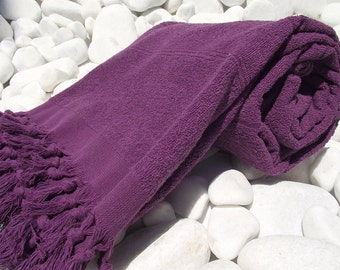 High Quality Hand Woven Turkish Cotton Thick Soft Bath,Beach,Pool,Spa,Yoga Towel or Sarong-Dark Burgundy Purple Stripes