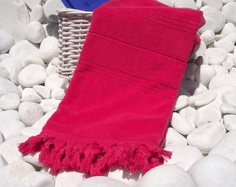 High Quality Hand Woven Turkish Cotton Thick Soft Bath,Beach,Pool,Spa,Yoga Towel or Sarong-Red Fuchsia Stripes
