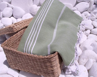 High Quality Hand Woven Turkish Cotton Bath,Beach,Pool,Spa,Yoga,Travel Towel or Sarong-White Stripes on Olive Green