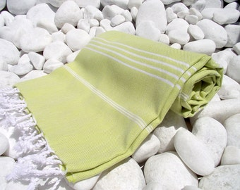 2 set -High Quality Hand Woven Turkish Cotton Bath,Beach,Pool,Spa,Yoga,Travel Towel or Sarong-White Stripes on Lime,Apple Yellow Green