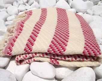 High Quality Hand Woven Turkish Cotton Bath,Beach,Pool,Spa,Yoga,Travel Towel or Sarong-Mathing Natural Cream,White and Dark Red