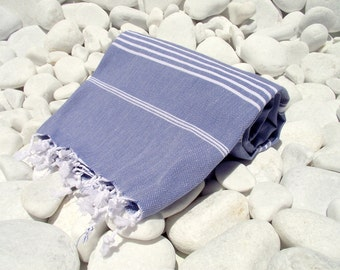 High Quality Hand Woven Turkish Cotton Bath,Beach,Pool,Spa,Yoga,Travel Towel or Sarong-White Stripes on Denim Blue