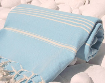 Turkishtowel-High Quality Hand Woven Turkish Cotton Bath,Beach,Spa,Yoga Towel or Sarong-Natural Cream Stripes on Turquoise