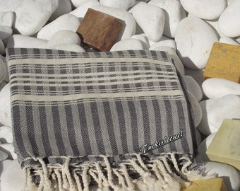 Soft High Quality ,Hand Woven Turkish Cotton Bath,Beach,Spa,Yoga Towel or Sarong-Black,Dark Gray,Light Gray and Natural  Cream Stripes