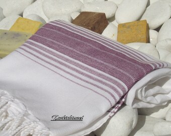 Soft Best Quality ,(PESHTEMAL)Hand Woven Turkish Cotton Bath Towel or Sarong-Purplish Burgundy Stripes on White
