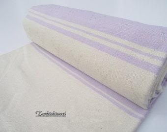 High Quality Hand-Woven Turkish cotton Soft Bath,Beach,Pool,Spa,Yoga,Travel Towel or Sarong-Pale Wisteria on Natural Cream