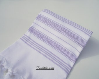 High Quality Hand Woven Turkish Cotton Soft, Bath,Beach,Spa,Pool,Yoga,Travel Towel or Sarong-Pale Lilac,Wisteria Stripes on White