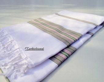 Soft High Quality Hand Woven Turkish Cotton Bath,Beach,Pool,Spa,Yoga,Travel Towel or Sarong or Wrap-Pastel Pink and Green Stripes on White