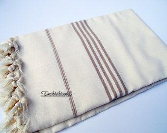 High Quality Hand Woven Turkish Cotton Bath,Beach,Pool,Spa,Yoga Towel or Sarong-Brown Stripes on Natural Cream