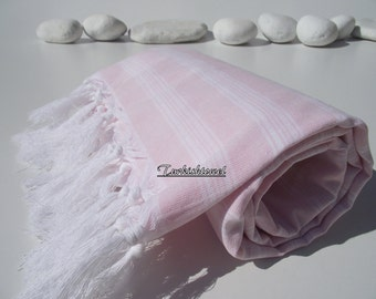 High Quality,Hand Woven,Light,Turkish Cotton,Bath,Beach,Spa,Yoga,Travel,Towel or Sarong-So Pale Pink and White Stripes