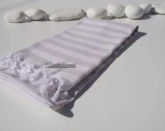 High Quality,Hand Woven,Light,Turkish Cotton,Bath,Beach,Spa,Yoga,Travel,Towel or Sarong-Pale Begie and White Stripes