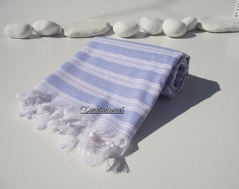 High Quality,Hand Woven,Light,Turkish Cotton,Bath,Beach,Spa,Yoga,Travel,Towel or Sarong- Blue and White Stripes