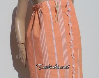 SPA WRAP-Bridesmaids Gift from High Quality,Hand Woven,Turkish Cotton,Bath Towel(Peshtemal)-White Stripes on Orange
