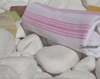 Turkishtowel-Soft,High Quality,Hand Woven,Pure Cotton,Bath,Beach,Spa,Yoga,Travel Towel or Sarong or Wrap-Pink Stripes on White
