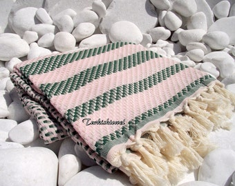 Turkishtowel-High Quality,Hand Woven,Cotton,Bath,Beach,Spa,Yoga,TravelTowel or Sarong-Mathing-Natural Cream,Pale Pink and Dark Green