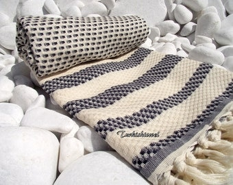 Turkishtowel-High Quality,Hand Woven,Cotton,Bath,Beach,Spa,Yoga,TravelTowel or Sarong-Mathing-Natural Cream and Black