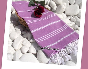 Turkishtowel-Peshkir-High Quality,Hand Woven,Pure Cotton,Hand,Head,Tea,Dish Towel or Unisex Neck Warmer-White Stripes on Lilac