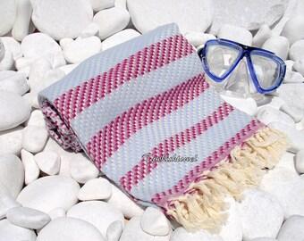 Turkishtowel-High Quality,Hand Woven,Cotton,Bath,Beach,Spa,Yoga,TravelTowel or Sarong-Mathing-Natural Cream,Pale Blue and Dark Pink