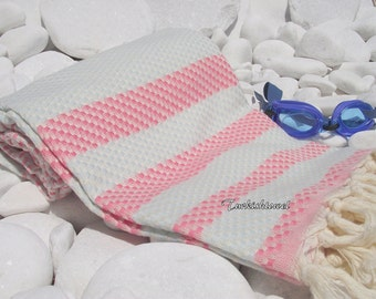 Turkishtowel-High Quality,Hand Woven,Cotton,Bath,Beach,Spa,Yoga,TravelTowel or Sarong-Mathing-Natural Cream,Pale Blue and Pale Pink