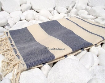 Turkishtowel-High Quality Hand Woven Turkish Cotton Bath,Beach,Pool,Spa,Yoga Towel or Sarong-Natural Cream and Navy Blue