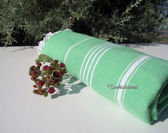 Turkishtowel-High Quality,Hand Woven,Pure Cotton,Bath,Beach,Pool,Spa,Yoga Towel or Sarong-White Stripes on Grass Green