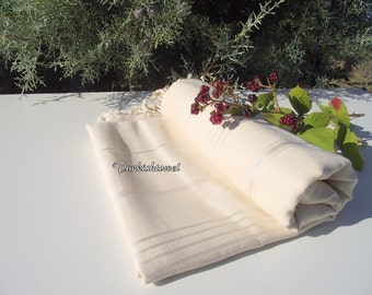 Turkishtowel-High Quality,Hand Woven,Pure Cotton,Bath,Beach,Spa,Yoga,Travel Towel or Sarong-Natural Cream,Ivory-Undyed- Stripes