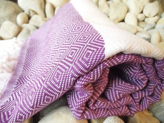 High Quality Hand Woven Turkish Cotton Bath,Beach,Spa,Yoga,Travel Towel or Sarong-Purple,Lilac and White
