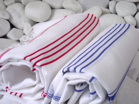 Best Quality Set of 2 Hand Woven Turkish Cotton Bath Towels or Sarong-Red Stripes on White and Blue Stripes on White