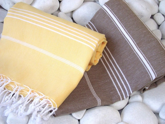 Best Quality Set of 2 Hand Woven Turkish Cotton Bath Towels or Sarong-White Stripes on Yellow and White Stripes on Brown