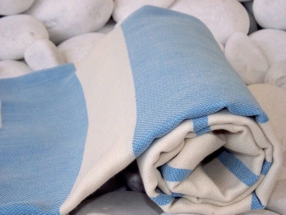 Best Quality Hand Woven Turkish Cotton Bath Towel or Sarong-Natural Cream And Blue