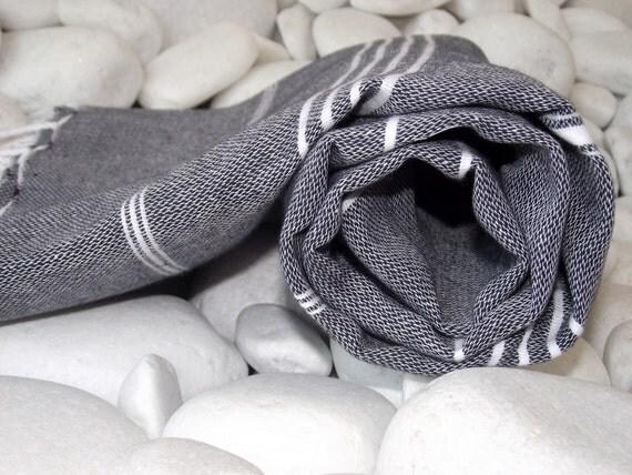High Quality Turkish Cotton Bath,Beach,Spa,Yoga,Travel Towel-Peshtemal-White Stripes on Black