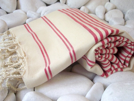 Best Quality,Hand Woven Turkish Cotton Bath Towel or Sarong-Coral,Red Stripes on Natural Cream