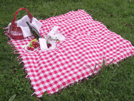 Country Style-Traditional Turkish Picnic Cover-Hand Woven,Turkish Cotton-Picnic Cover,Garden or Kitchen Tablecloth-Red and White Checked