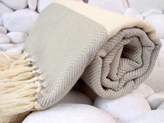 Best Quality Hand-Woven Turkish Cotton Bath Towel,Beach Towel or Sarong-Light Grey and Natural Cream,Ivory