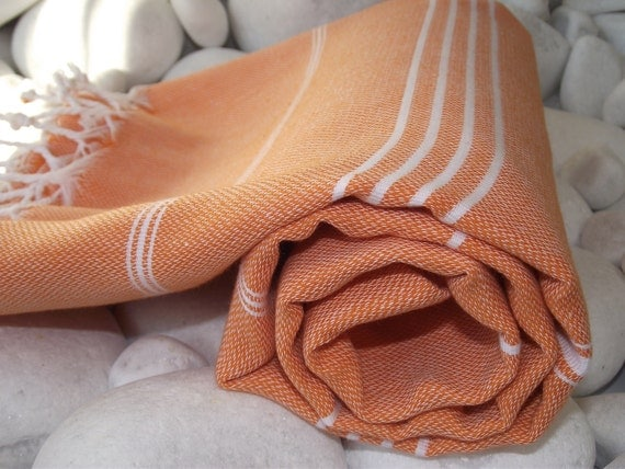 Reserved for Leslye-Set of 3- Hand Woven Best Quality Turkish Cotton Bath Towel or Sarong-White Stipes on Peach,Yellow and Pale Blue